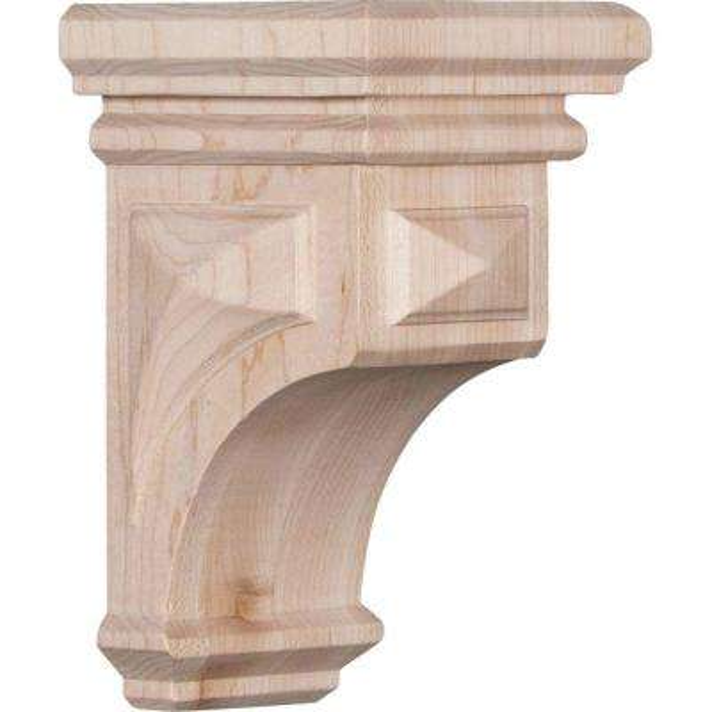 3-1/2 in. x 6 in. x 3-3/4 in. Red Oak Mini Woodruff Wood Corbel