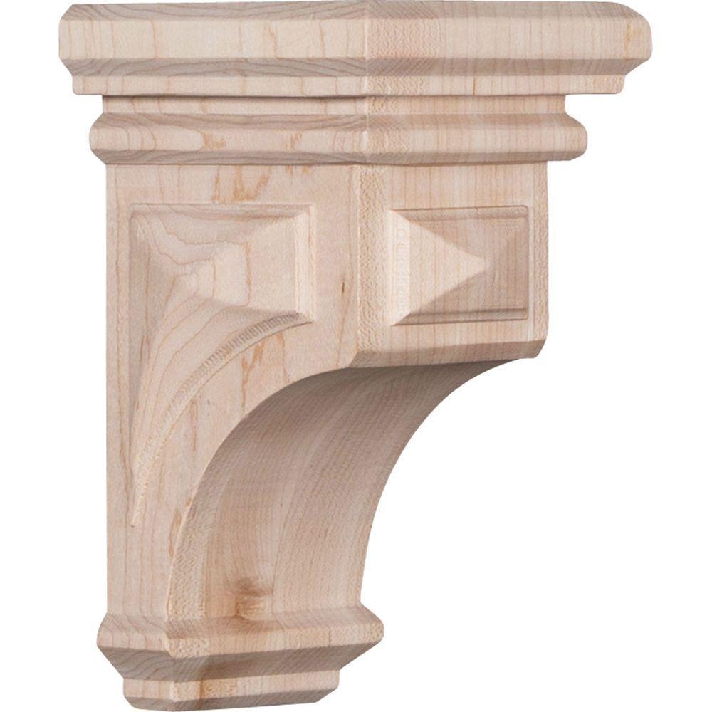 3-1/2 in. x 6 in. x 3-3/4 in. Rubberwood Mini Woodruff Wood Corbel