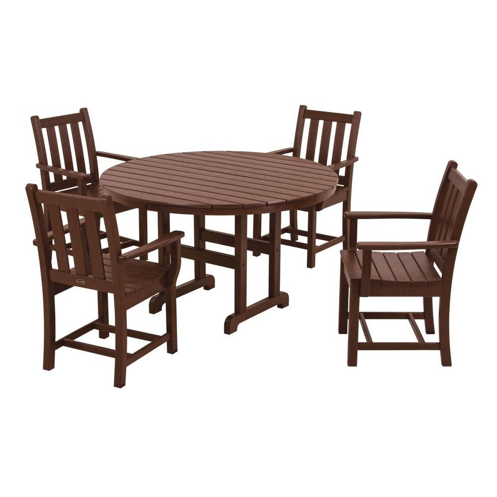 POLYWOOD Traditional Garden Mahogany 5-Piece Patio Dining Set