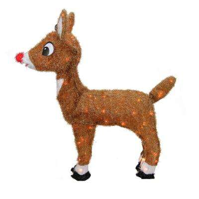 26 in. Christmas Pre-Lit Rudolph the Red-Nosed Reindeer Outdoor Decoration with Clear Lights