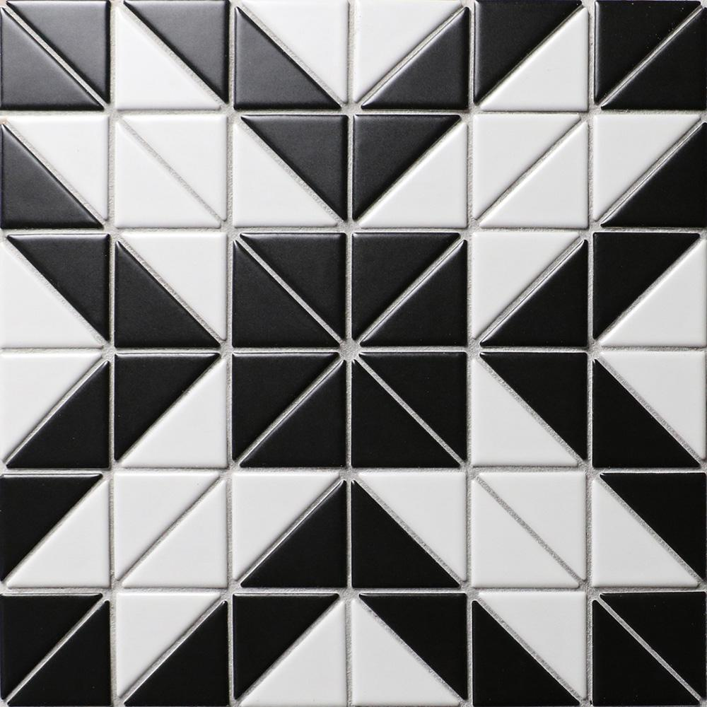 Merola Tile Tre Rue White with Black 10-3/4 in. x 10-3/4 in. x 6 mm Porcelain Mosaic Tile (8.21 sq. ft. / case)