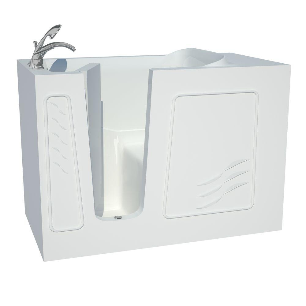 Universal Tubs Builder's Choice 53 in. Left Drain Quick Fill Walk-In Soaking Bath Tub in White