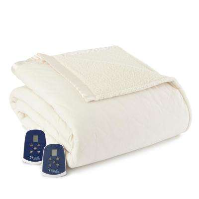 Reverse to Sherpa King Ivory Electric Heated Blanket