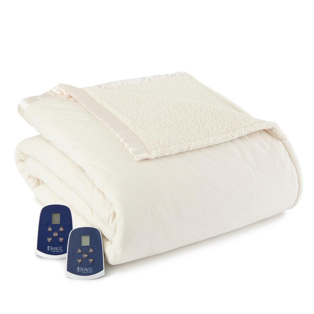 Reverse to Sherpa Queen Ivory Electric Heated Blanket
