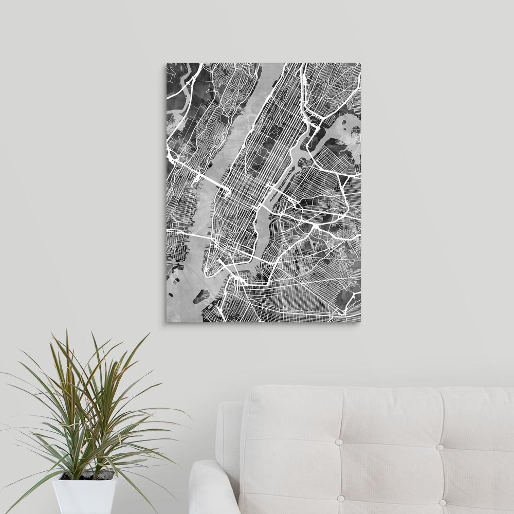 New York Map Black And White.Greatbigcanvas New York City Street Map Black And White By