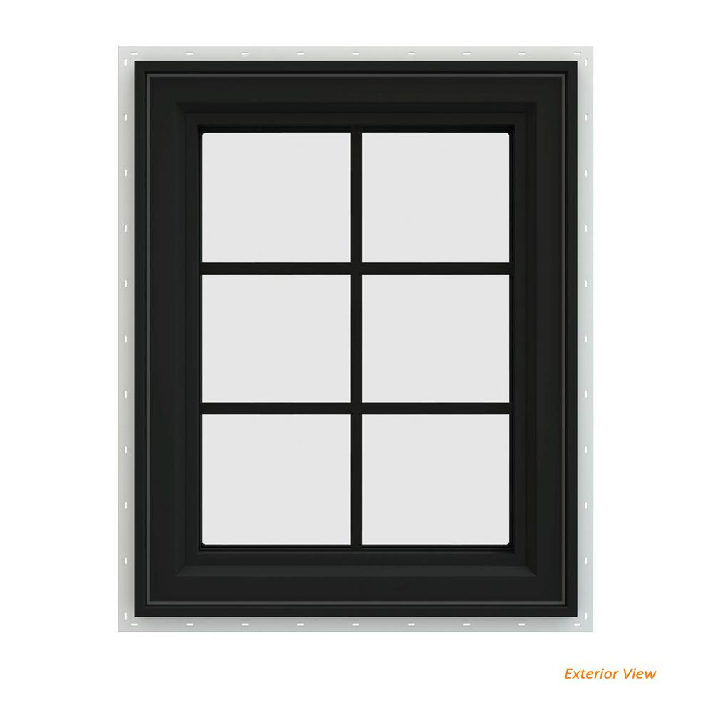 V 4500 Series Bronze Painted Vinyl Left Handed Cat Window With Colonial Grids Grilles