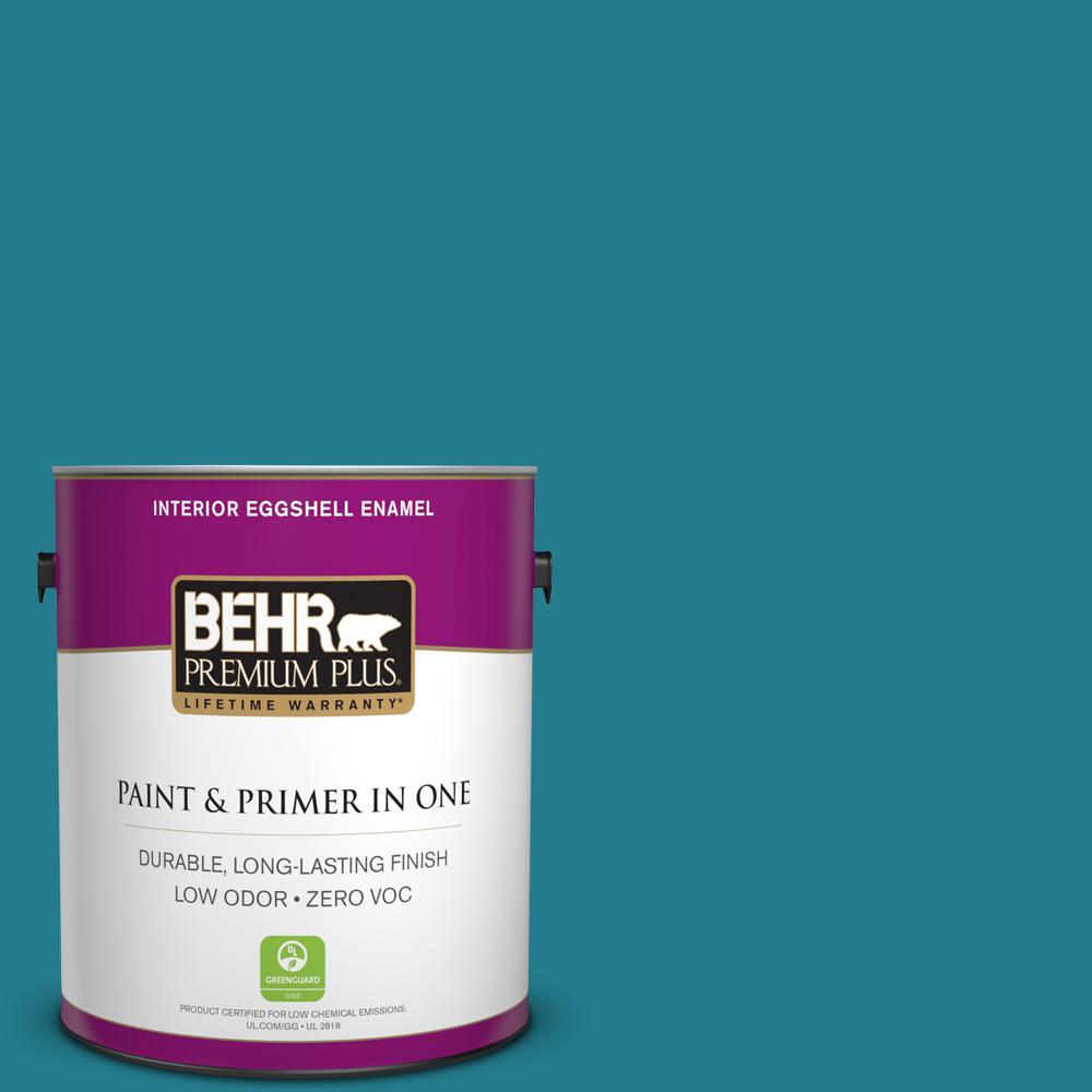 BEHR Premium Plus Home Decorators Collection 1 gal. #HDC-CL-27 Calypso Blue Eggshell Enamel Zero VOC Interior Paint and Primer in One