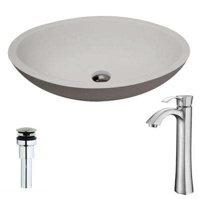 Maine Series 1-Piece Man Made Stone Vessel Sink in Matte White with Harmony Faucet in Brushed Nickel