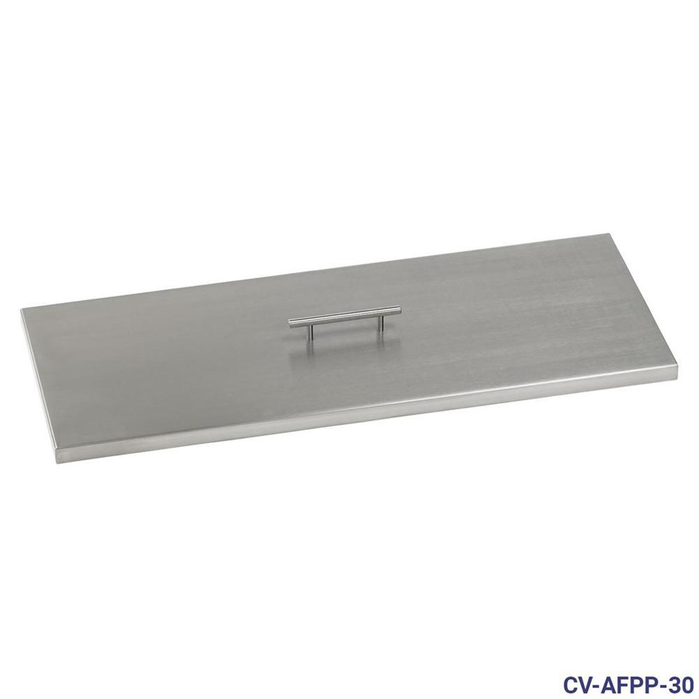 30 in. x 10 in. Stainless Steel Cover Rectangular Drop-In Fire