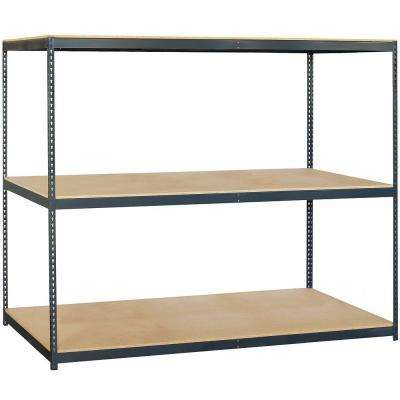 9700 Series 96 in. W x 84 in. H x 36 in. D 3-Shelf Heavy Duty Steel Frame and Particleboard Solid Shelving
