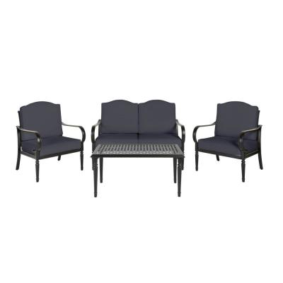 Laurel Oaks Brown 4-Piece Steel Outdoor Patio Conversation Seating Set with CushionGuard Midnight Navy Blue Cushions