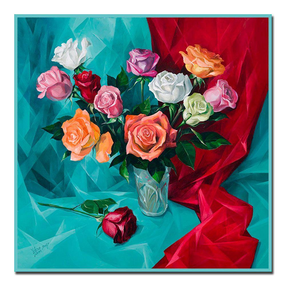 18 in. x 18 in. A Dozen Roses Canvas Art