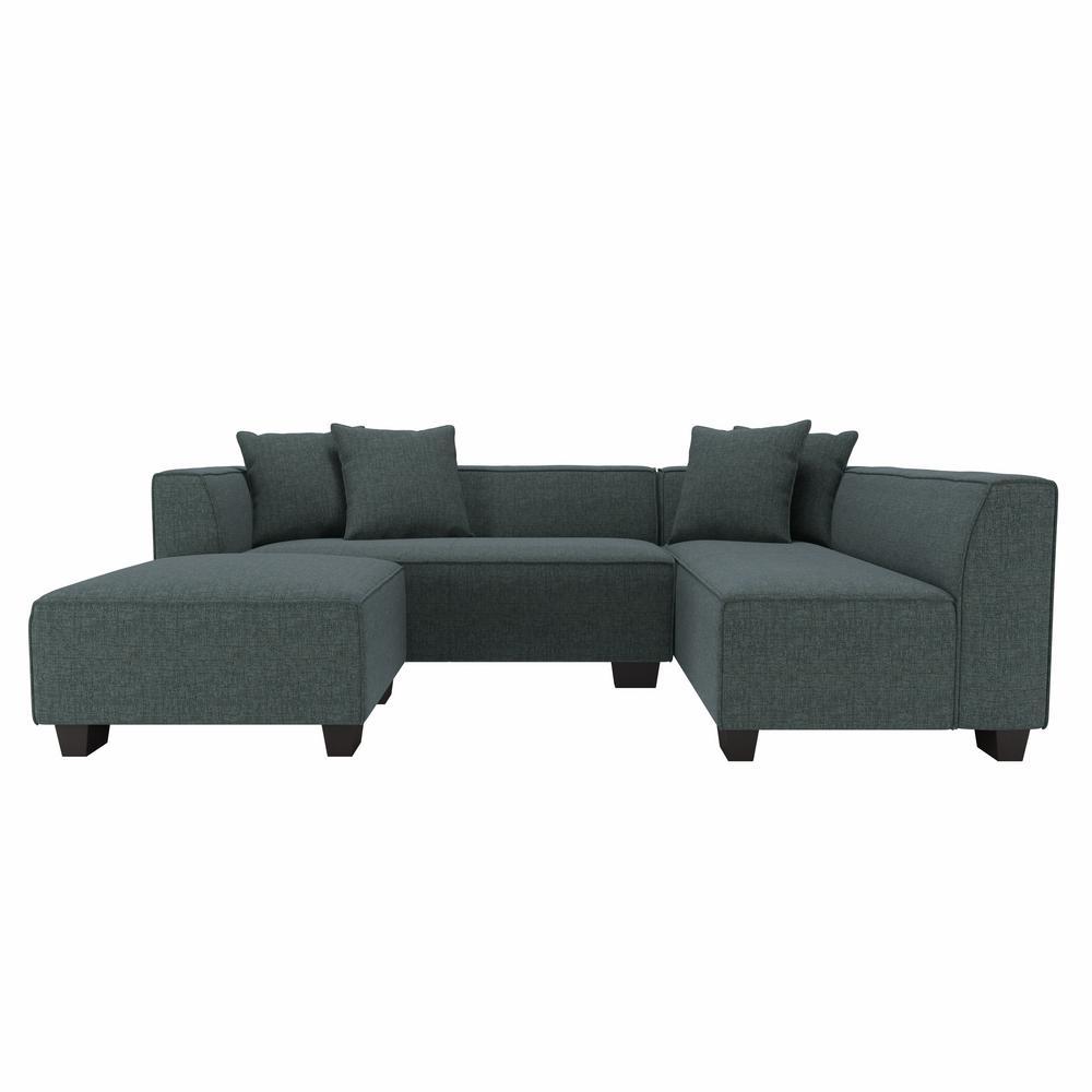 Yara Sectional Sofa with Ottoman in Performance Tested Medium Blue Herringbone Fabric