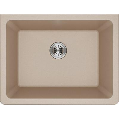 Quartz Classic Perfect Drain Undermount 25 in. Laundry Sink in Putty