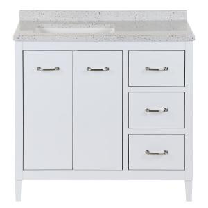 Marrett 36.5 in. W x 18.75 in. D Bath Vanity in White with Solid Surface Vanity Top in Silver Ash with White Sink