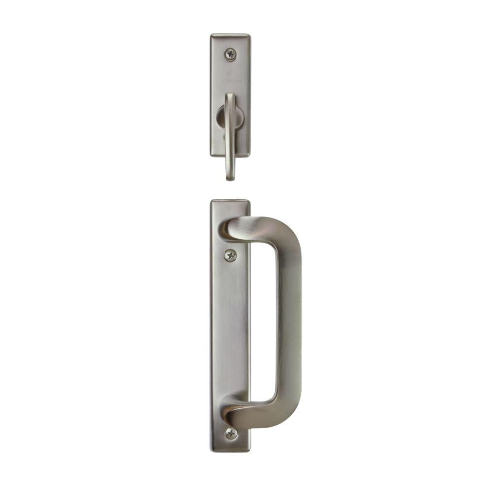 Anvers 2-Panel Gliding Patio Door Hardware Set in Satin Nickel  sc 1 st  Home Depot & Sliding Door Locks - Door Locks - The Home Depot