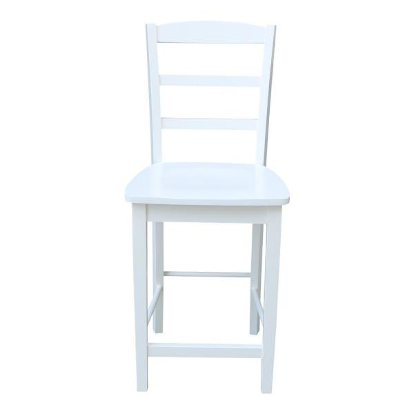Madrid 24 in. H Pure White Counter Stool