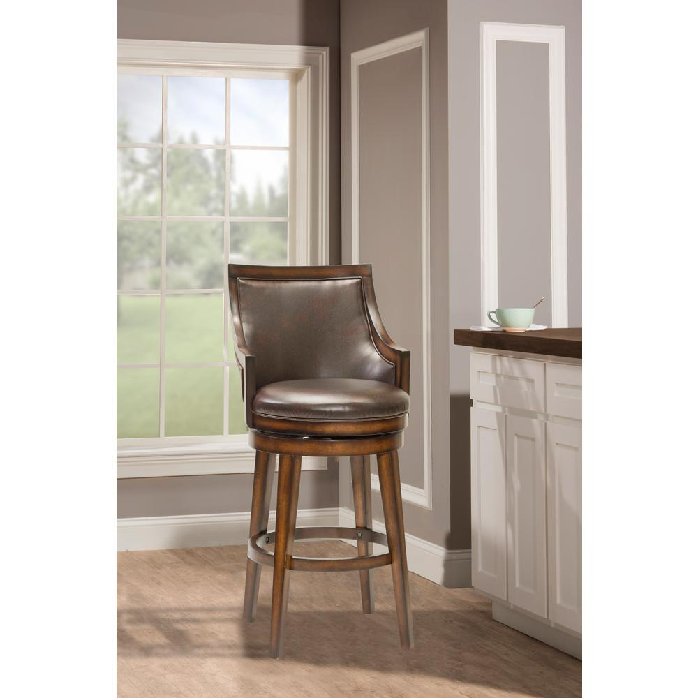 Hilale Furniture Lyman 30 5 In Rustic Oak Cushioned Bar Stool