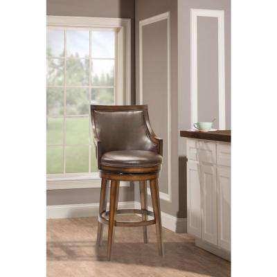 Lyman 30.5 in. Rustic Oak Cushioned Bar Stool