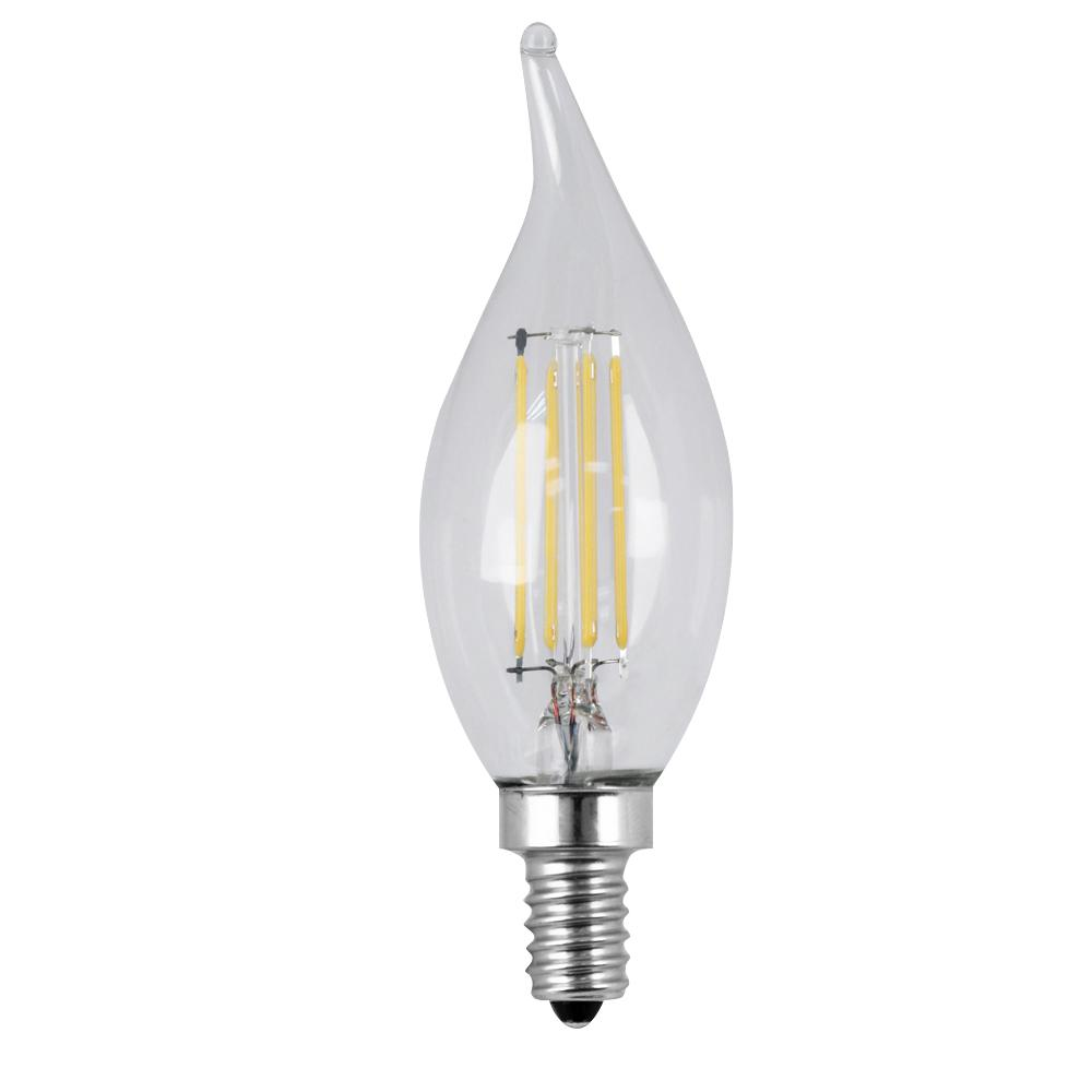 60W Equivalent Daylight CA10 Dimmable Clear Filament LED Candelabra Base Light