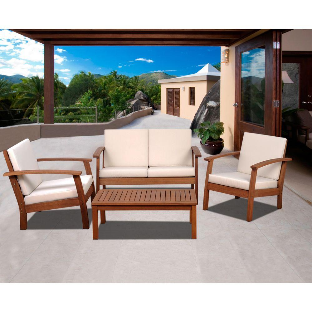 Ia Murano 4 Piece Eucalyptus Patio Conversation Set With Off White Cushions