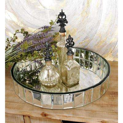 18 in. W x 3 in. H Clear Round Decorative Tray with Geometric Mirror Facets
