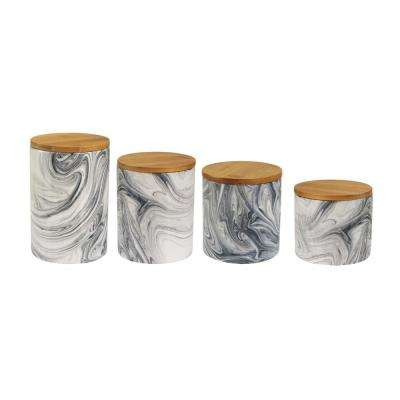 4-Piece Marble Gray Stoneware Canister Set with Wood Lid