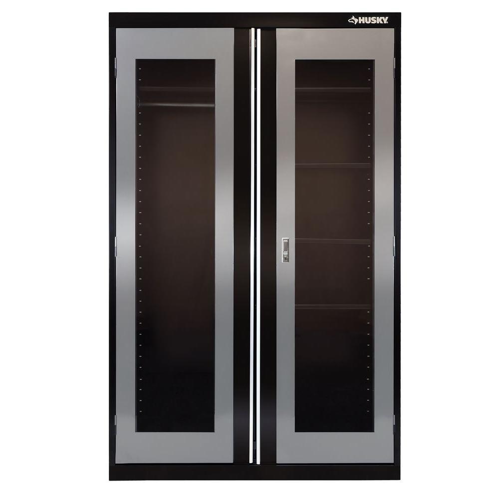 72 in. H x 46 in. W x 24 in. D 5 Shelf Welded Metal Combination Cabinet in Black/Gray