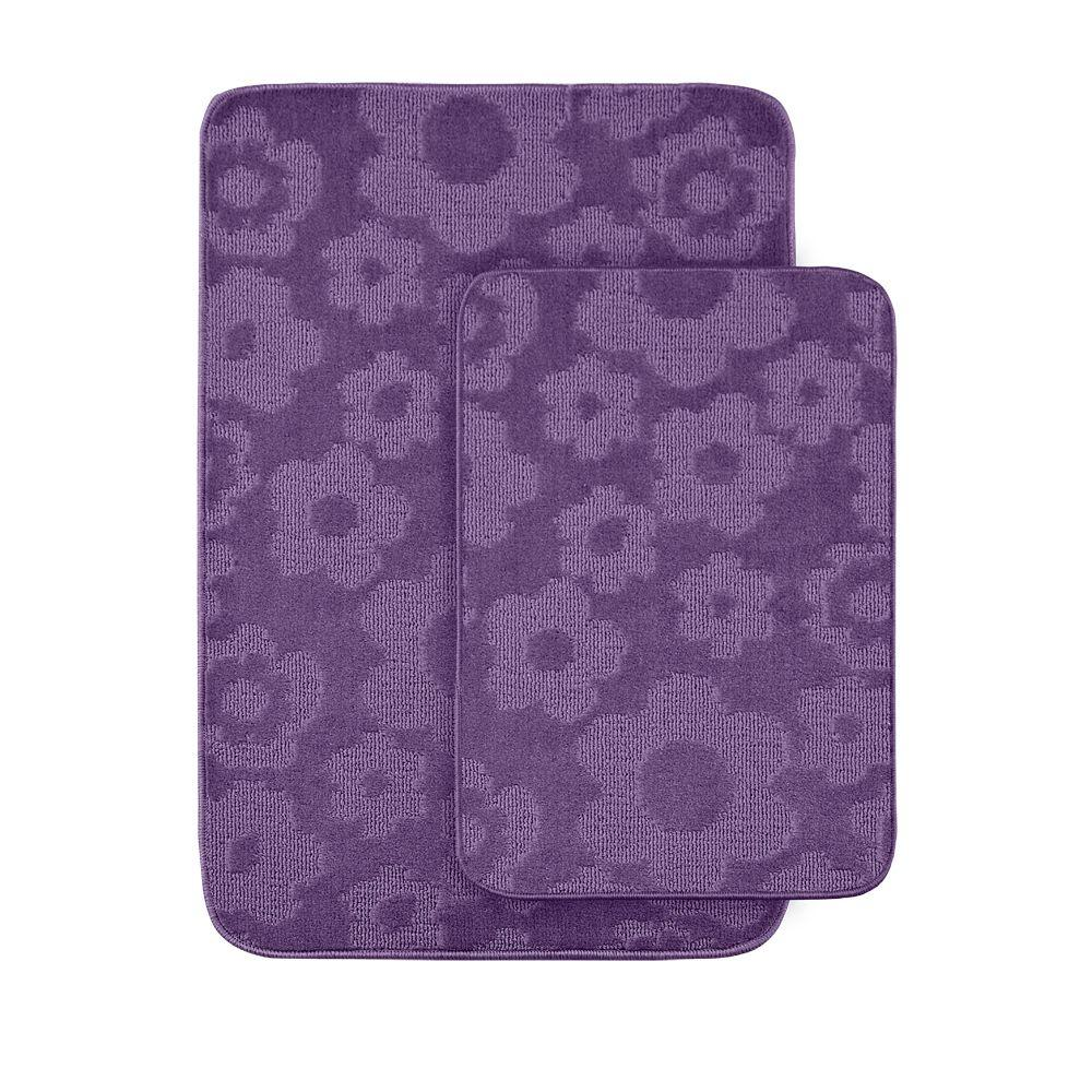 Walmart Purple Rug: Garland Rug Flowers Purple 20 In X 30 In. Washable Bathroom 2-Piece Rug Set-FB-2PC-PUR