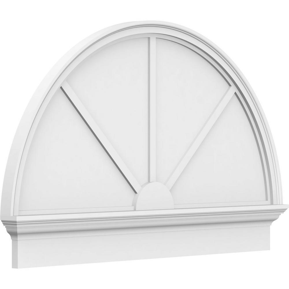 2-3/4 in. x 86 in. x 49-3/4 in. Half Round 3-Spoke Architectural Grade PVC Combination Pediment Moulding