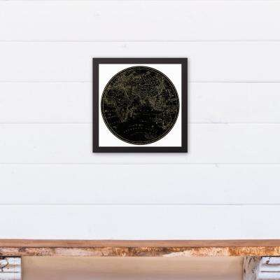 12 in. x 12 in. ''Globe Circle Print 3'' Printed Framed Canvas Wall Art
