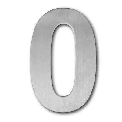 4 in. Brushed Stainless Steel Large Floating Modern Number 0