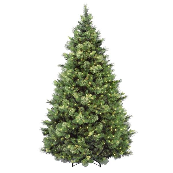 7-1/2 ft. Carolina Pine Hinged Artificial Christmas Tree with 86 Flocked Cones and 750 Clear Lights