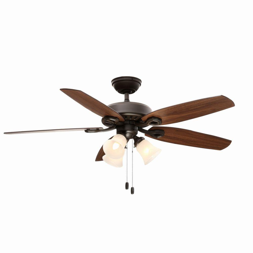 Hunter Builder Plus 52 in. Indoor New Bronze Ceiling Fan with Light Kit Bundled with Handheld Remote Control