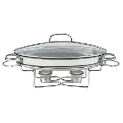 Classic Entertaining 13.5 in. (2.5 Qt.) Stainless Oval Buffet Server