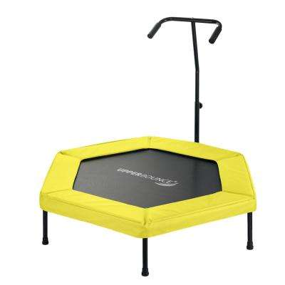 50 in. Hexagonal Fitness Mini-Trampoline with T-Shaped Adjustable Hand Rail and Bungee Cord Suspension in Yellow