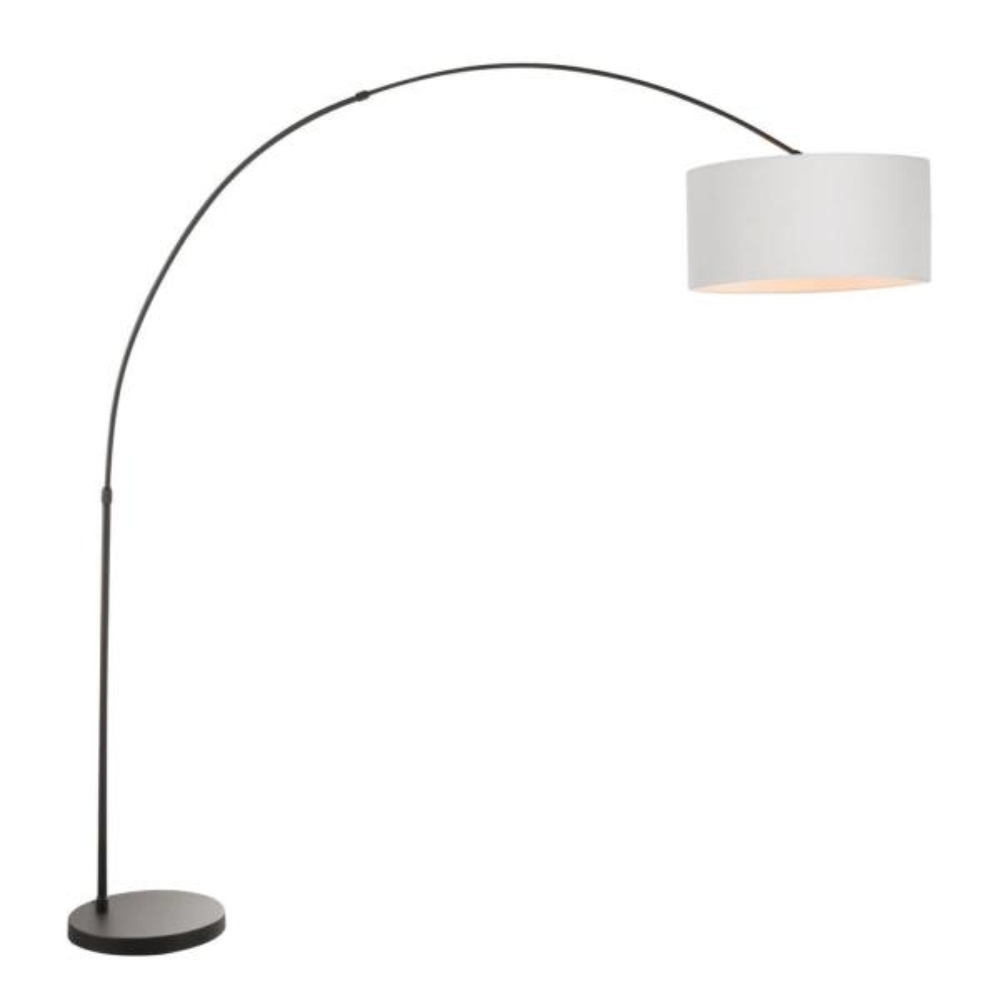 Salon 76 in. Black Metal Floor Lamp with Grey Shade
