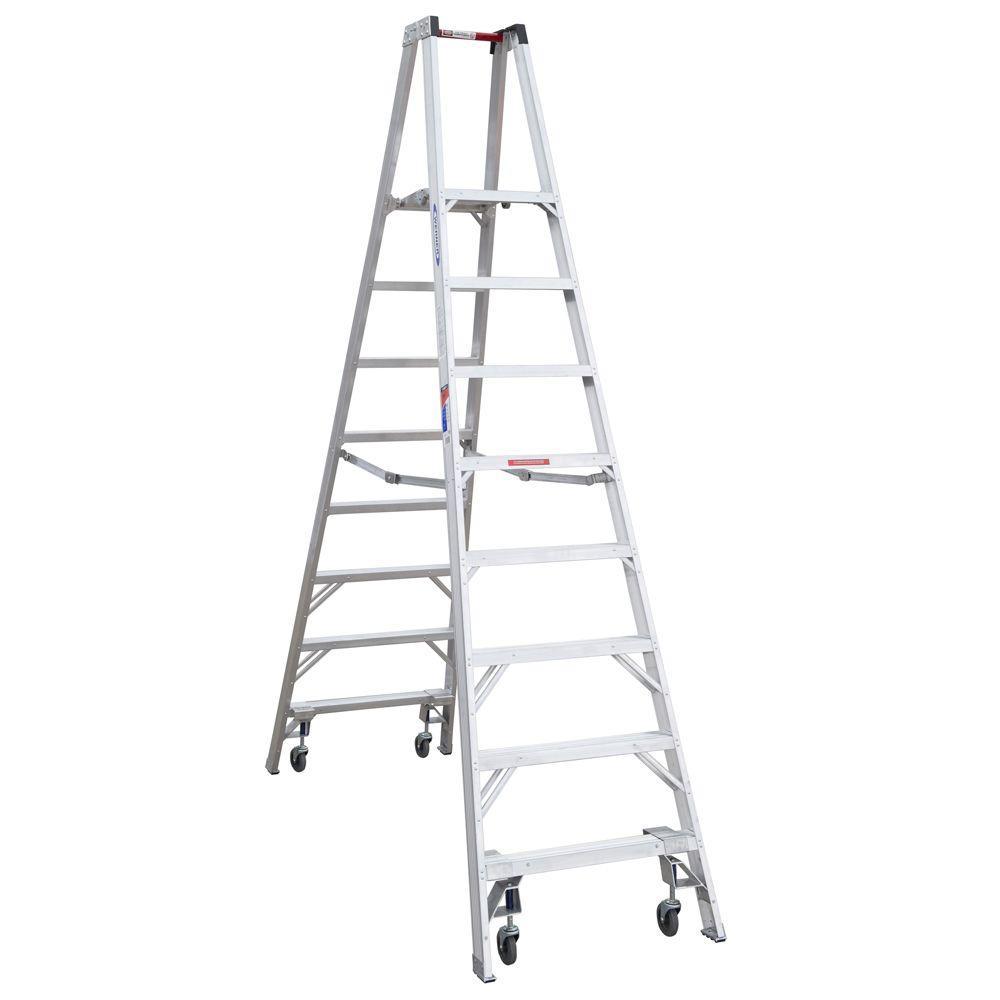 werner 14 ft reach aluminum platform twin step ladder with casters 300 lb load capacity type. Black Bedroom Furniture Sets. Home Design Ideas