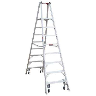 14 ft. Reach Aluminum Platform Twin Step Ladder with Casters 300 lb. Load Capacity Type IA Duty Rating