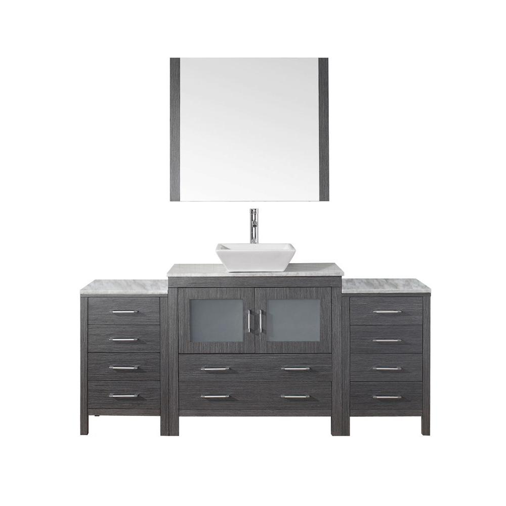 Virtu USA Dior 73 in. W Bath Vanity in Zebra Gray with Marble Vanity Top in White with Square Basin and Mirror and Faucet