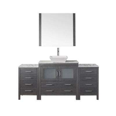 Dior 72 in. W x 18.3 in. D Vanity in Zebra Grey with Marble Vanity Top in White with White Basin and Mirror