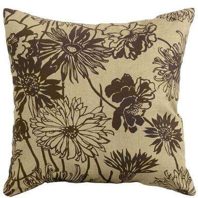 Maystone Brown Square Outdoor Throw Pillow