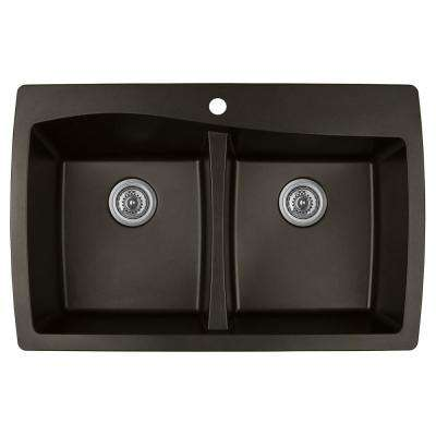 Drop-In Quartz Composite 34 in. 1-Hole 50/50 Double Bowl Kitchen Sink in Brown