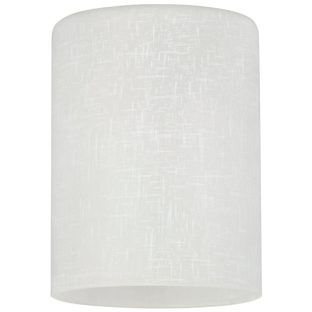 5-1/8 in. Hand-Blown White Linen Cylinder Shade with 2-1/4 in. Fitter