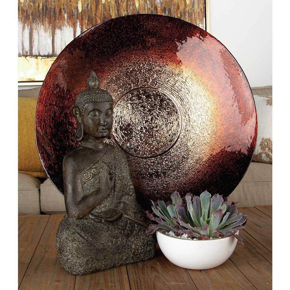 Amber Brown Rippled Glass Decorative Bowl with Black Iron L-Shaped Stand