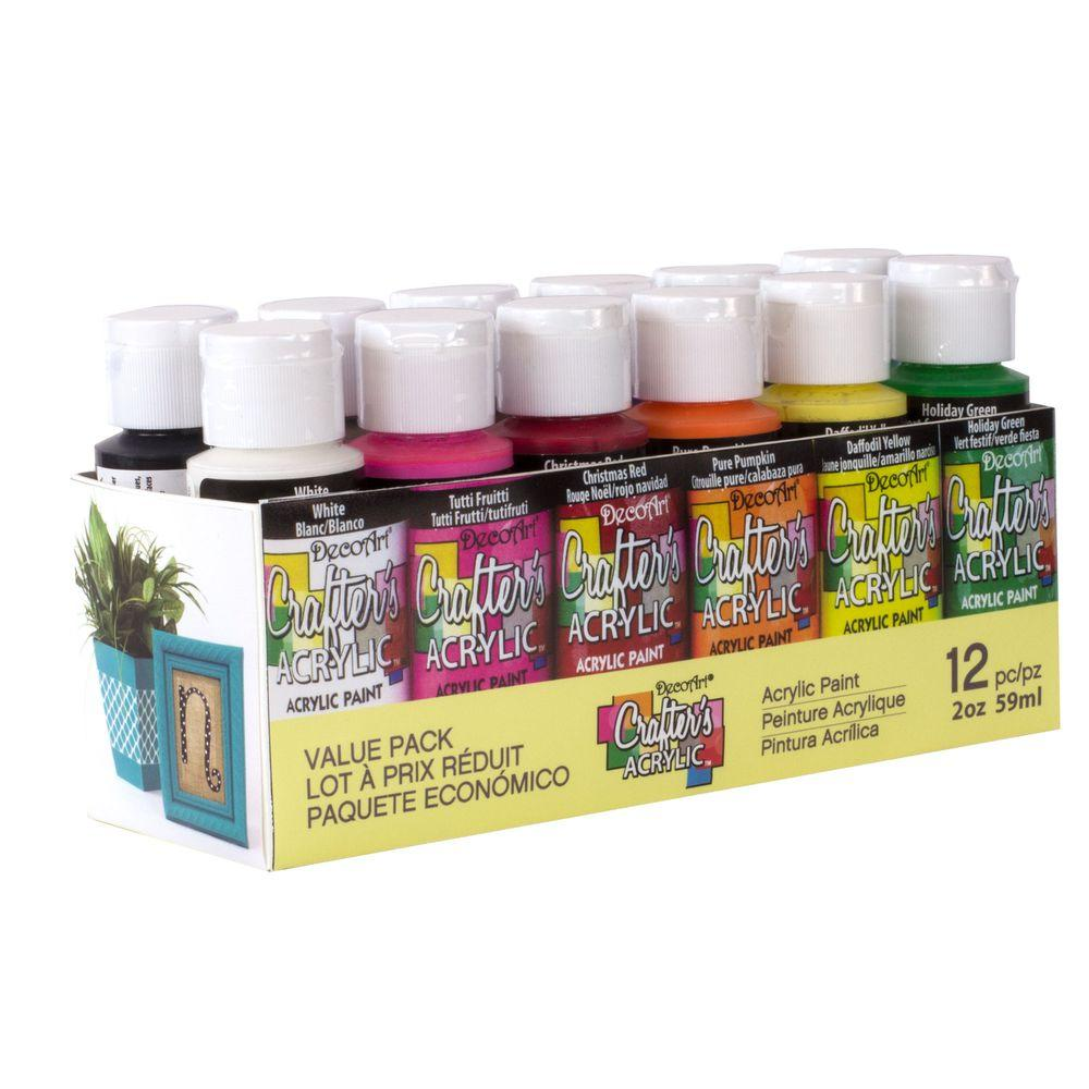 DecoArt 2 oz. 12-Color Acrylic Craft Paint Set