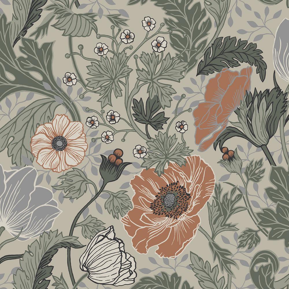 Anemone Grey Floral Wallpaper