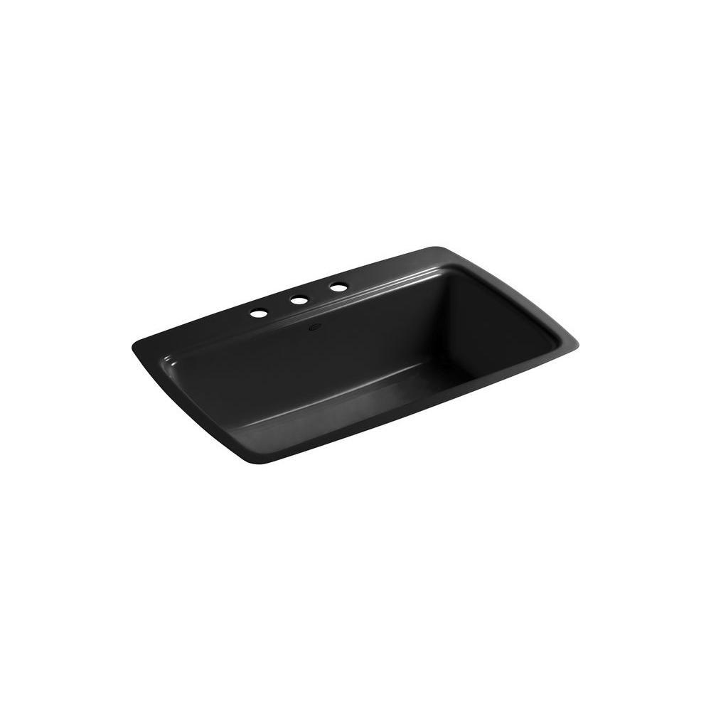 KOHLER Cape Dory Tile-In Cast-Iron 33 in. 3-Hole Single Bowl Kitchen Sink in Black Black