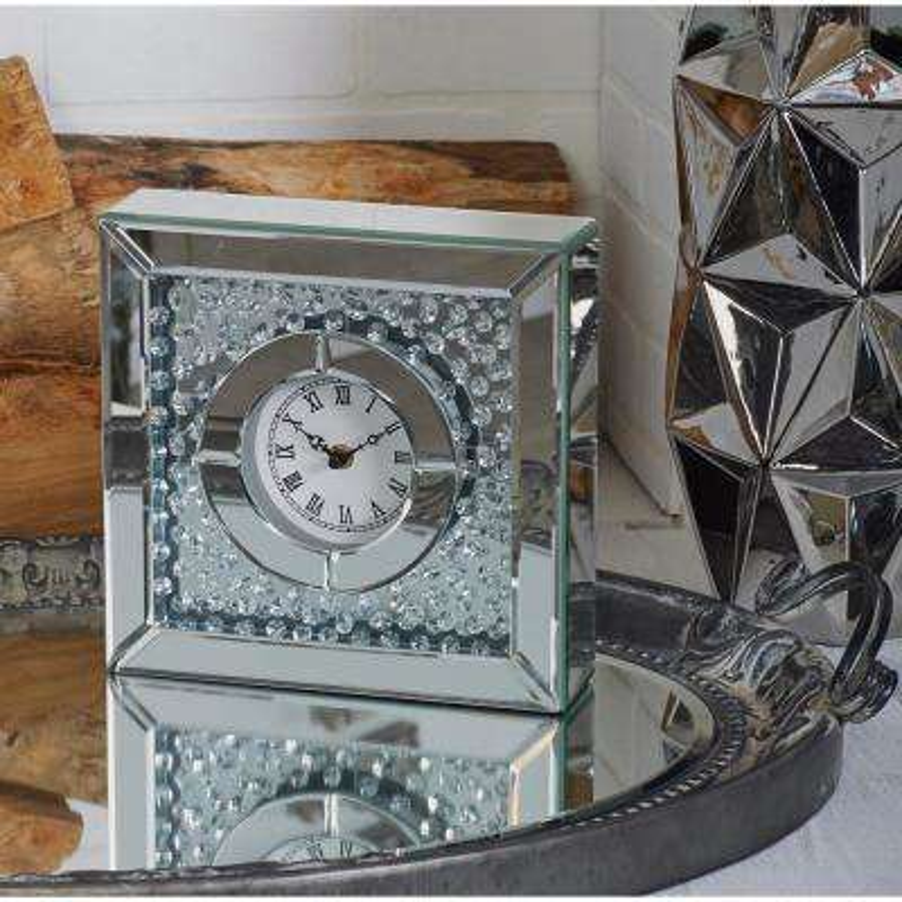 Modern Clear Rhinestone Reflective Table Clock