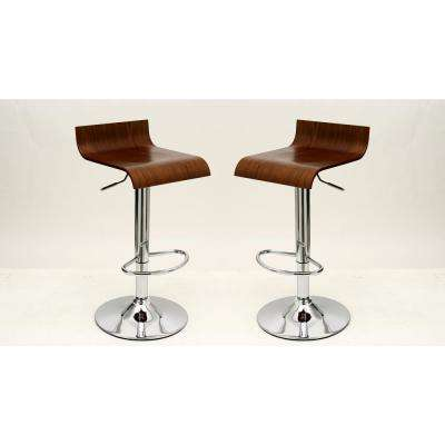 Practical Ludlow Brown Barstool with Height Adjustability (Set of 2)